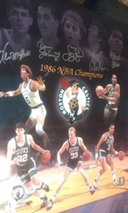 Boston Celtics All Stars 86 Champs, 5 action shots & 5 game 'face' shots, Larry Bird, Kevin McHale, Dennis Johnson, Bill Walton, Robert Parish, 16x20,PSADNA